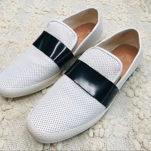 All Black Footwear White Slip On Sneakers Size 11
